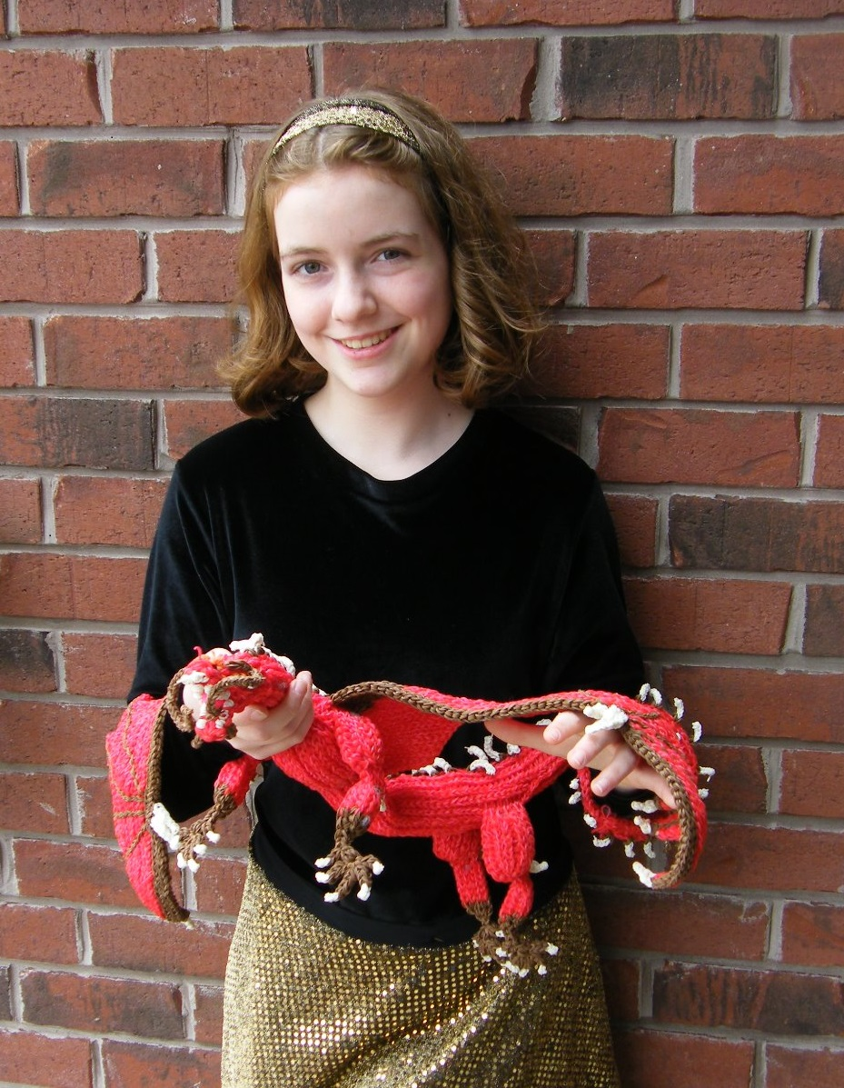 Charlotte Gerwin with her dragon