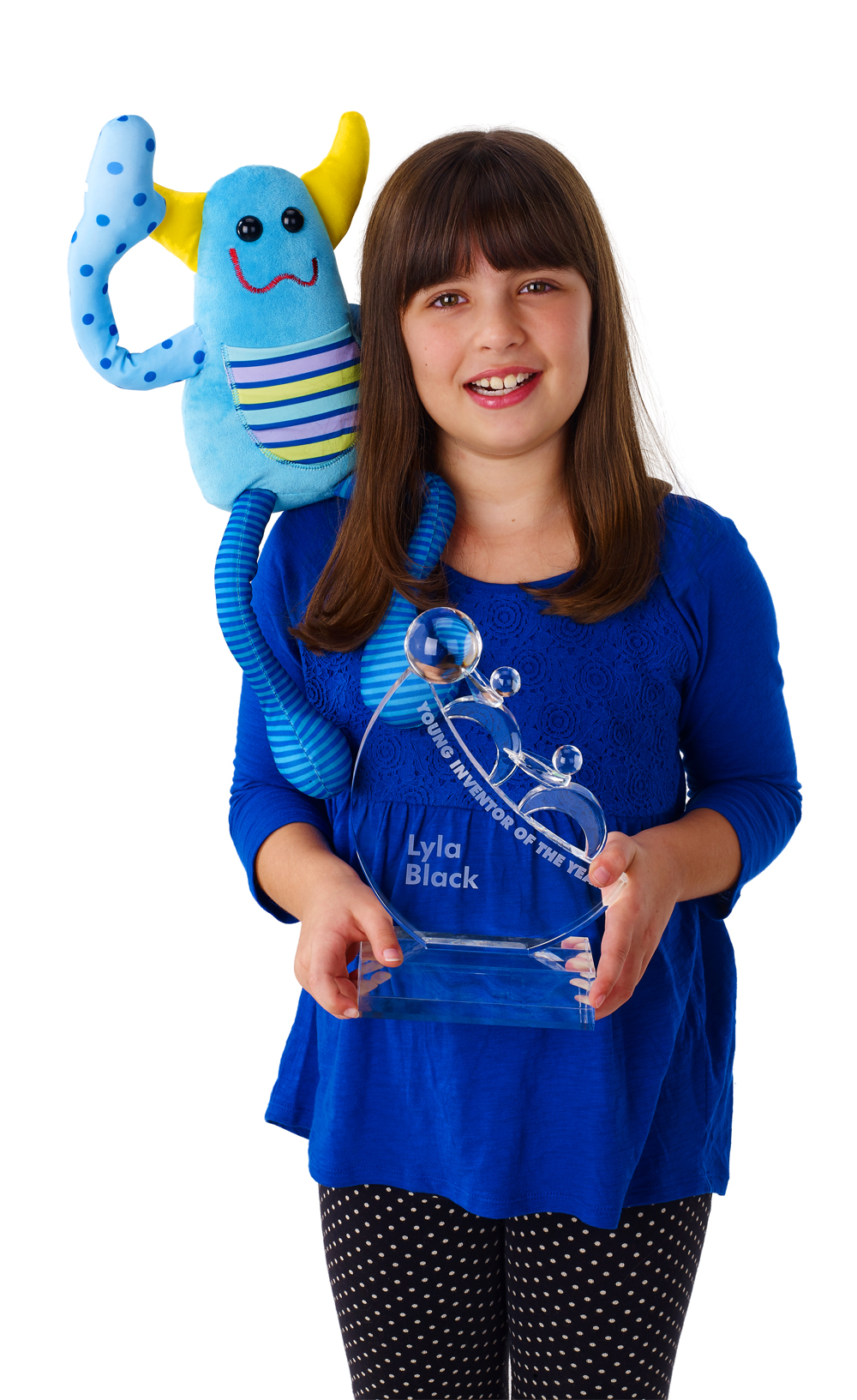 Lyla Black from Lyla Tov Monsters standing with award